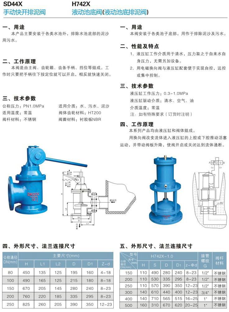 手动快开排泥阀,SD44X手动排泥阀主要用于自来水公司各类水池外,用以排除池底泥沙或污物。本阀由主阀、齿轮箱、齿条手柄、挡位等组成。工作时只要把手柄往下按定位就可以开启,相反就快速关闭。 手动快开排泥阀技术参数: 公称压力:1.0MPa 适用介质:水、污水、泥沙 适用温度:常温 阀体齿轮材料:HT200 阀杆材料:不锈钢 阀瓣材料:衬胶板NBR 排泥阀主要特点是采用双室隔膜传动机构替代活塞式,无运动磨损,寿命长。主要用途是安装在各类沉淀池的底部壁外,用以排除池底的泥沙及污物。是一种由液压源或气动源作执行的
