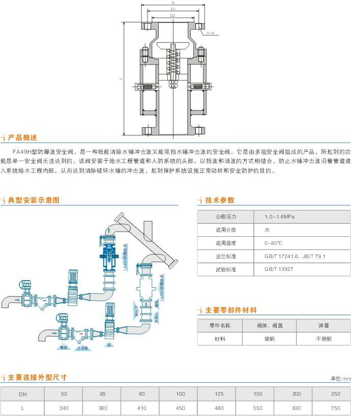 防爆波阀,fa49h防爆波阀尺寸结构图图片