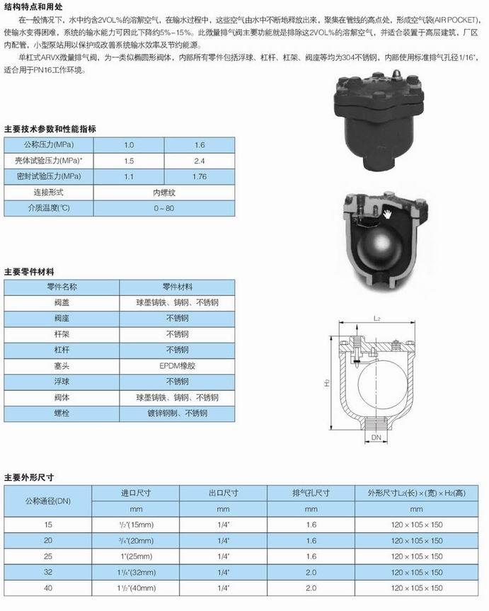 微量排气阀,arvx微量排气阀尺寸结构图